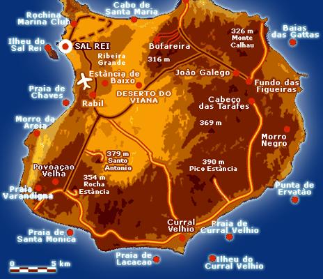 Cartina Boavista Capo Verde